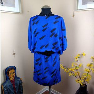 Unique 80s Electric Blue Blouson Dress by Dawn Joy